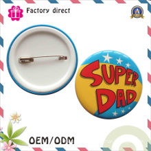 Promotional Gifts Tin Plastic Badge with Safety Clip
