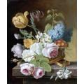 100% artesanal pinturas acrílicas flores na arte da parede de tela para decoração para casa (ECH-116)