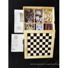 Conjunto de jogo 7 em 1 conjunto de xadrez multi atacado em caixa de madeira