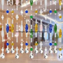 Rideau de perles de verre de porte ou de fenêtre ou de décoration