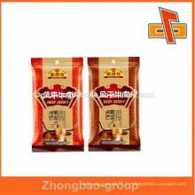 Proteção Ambiental e personalizado impresso saco de embalagem de alimentos secos com zíper para beef jerky