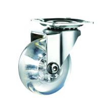Rodas giratórias transparentes de 75 mm em PU