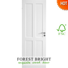 Porta de madeira branca do quarto de 4 painéis, projeto de madeira da porta de painel