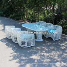Nueva mesa de comedor al aire libre redonda blanca de los muebles de la rota fijada para 6