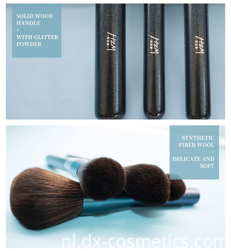 10 Pcs Blue Glitter Diamond Makeup Brushes Set 4