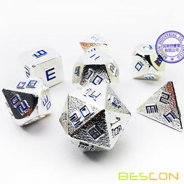 Bescon Shiny Silver-Ore Lode Solid Metal Dice Set, Raw Metal Polyhedral D&D RPG 7-Dice Set