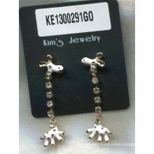 Lovely Lamb Metal Earrings with Gem
