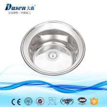 Foshan Hersteller Dekor Oberflächenbehandlung einzelne Schüssel Runde Waschbecken 510mm ohne Mischbatterie