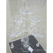 Clear Glass Candle Holder for Home Decoration with Five Posters,