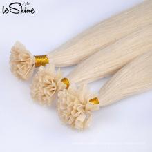 Extensions de cheveux plates à pointe de vernis à ongles alignées de pointe de cuticule remy humain de double grade humain