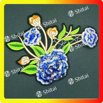 Patch di paillettes fiore blu