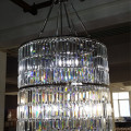 French Modern Lobby Large Cylindrical Luxury Clear Crystal Chandelier
