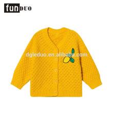 Algodón infantil de punto chaqueta amarilla casual cálida limón vestido casual niñas vestidos de algodón
