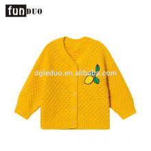 Criança de algodão de malha amarela jaqueta casual vestido de limão quente meninas casuais vestidos de algodão