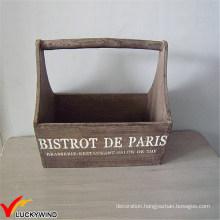 Antique Vintage Rustic Recyled Hanging Wooden Storage Basket with Handles