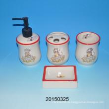 Accesorio de baño de cerámica de cerámica del mono encantador Accesorio de cerámica de la taza / de la loción de la botella / del jabón /