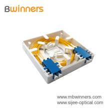 FTTH 2 puertos Mini caja de terminales Placa frontal de fibra óptica Conector montado en la pared