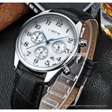 de alta calidad original japón movimiento caja de acero inoxidable y correa de cuero genuino relojes para hombre