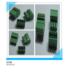 3.5mm Angle 4 Pin/Way Green Pluggable Type Screw Terminal Block Connector