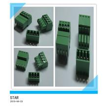 Pino do ângulo 4 de 3.5mm / tipo tipo conectável verde conector do bloco terminal de parafuso