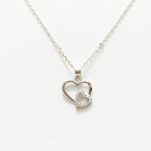 New 925 sterling silver gold-plated double heart diamond zircon necklace pendant