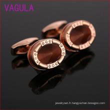 Boutons de manchette en cuivre opale plaqué or rose L52301