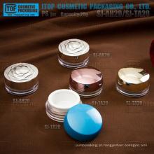 Design inovador lindo casal atraente camadas plana 20ml redondo plástico recipiente creme cosmético elegante