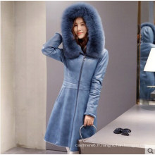 Lady's Hooded Shearling et manteau en cuir d'agneau long style