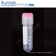 Vial criogénica de fondo redondo de rosca externa de 2 ml con sello de arandela de silicona