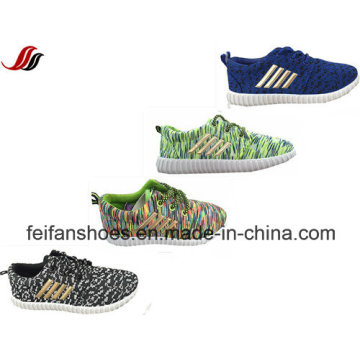 2016 Stripe Mesh Canvas Injection Sport Shoes, Children Lace up Casual Shoes