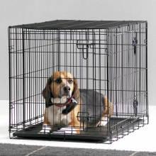 Cage de chien de coton noir revêtue de PVC bon marché et durable