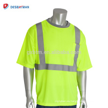 2018 Hi-Vis Lemon Security Camiseta Best Neon Yellow 100% Polyester Mesh Manga corta Cool Reflective Tees con 1 bolsillo en el pecho