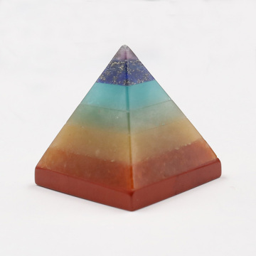 Natural crystal stone seven color chakras Pyramid