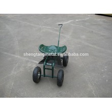Rolling Garden Cart Work Seat With turnbar