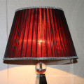 Antique Hotel Decorative Red Silk Shade Bedside Table Lamp