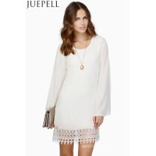 Frauen Explosion Modelle Spitze langärmelige Kleid Hem Nähen Chiffon Kleid Lady Kleider