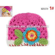 Большие вязания крючком цветы шапки шляпы Детские малышей девочек цветов младенческой шляпе колпачок РУЧНОЙ ребенка шляпы / шапки