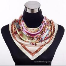 Comfortable Pretty women 100*100cm print wholesale french 2017 square design silk scarves 90*90 cm elegant