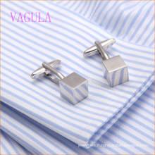 VAGULA Mode Nouveau Design Argent Plaqué Lisse Cube Gemelos Cuivre Boutons de Manchette