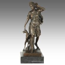 Mythology Figure Antique Statue Artemis Bronze Sculpture TPE-865