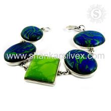 Espléndida joyas de plata de piedras preciosas múltiples 925 pulsera de plata esterlina joyas de plata hechos a mano