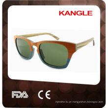 2015 popular com óculos de sol de madeira de lente polarizada UV400