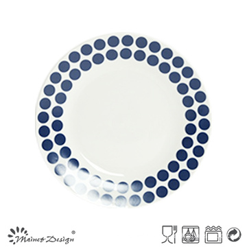 19cm Porcelain Salad Plate with Blue Decal Print