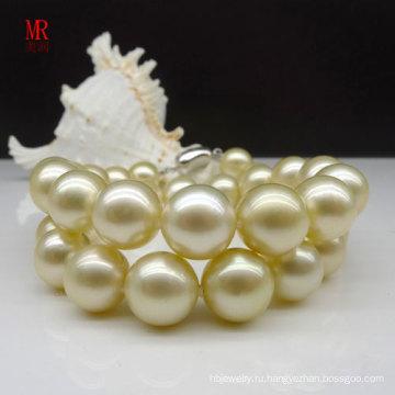 10-11мм Ожерелье из натурального жемчуга Саутси Золото