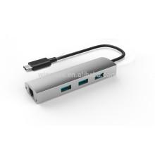usb 3.0 Type C 3 port hub,USB 3.0 Gigabit Ethernet USB C, Support Wake-on-LAN Function