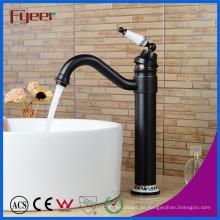 Fyeer Oil Rubber Bronze - Manija de cerámica, encimera, latón, lavabo, grifo
