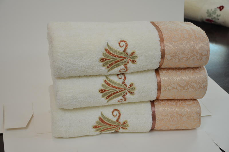 Terry Soft Towels Embroidery & Elegant Silk Patch