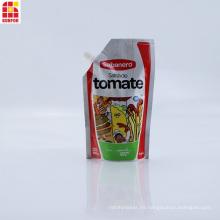 Bolsa de boquilla de pie con salsa de tomate impresa personalizada