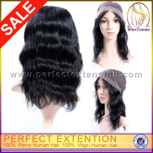 Fashion Lady's Mongolian Body Wave Silk Top In Stock Human Hair Full Lace Wigs