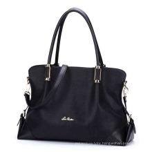 Opular Modern Soft PU Leather Lady Fashion Handbags, Black Glossy PU Hand Bags (ZX10168)